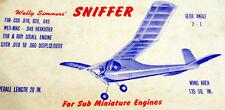 "Vintage SNIFFER 1950s Free Flight Enlarged 150% to 44"" Span Model Airplane PLAN"