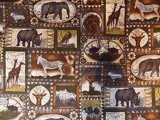 WtW Fabric Wild Animals Jungle Safari Lion Zebra Giraffe Elephant Africa Quilt