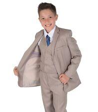 Beige controllato Boy Tuta Ragazzi 5 Pezzo Da Matrimonio Suit pagina ragazzo Festa Ballo di fine anno 2-12 ANNO