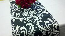 "Damask Wedding Table Runner White Black 72"" Traditions"