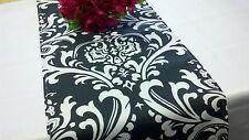 "Damask Wedding Table Runner White Black 72"" Traditions"