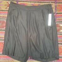 DKNY Women's Black Pleated Front Side Zipper Bermuda Shorts Size 14 NWT $79.50