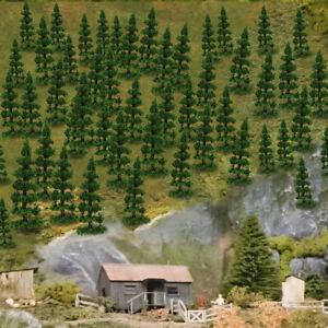 100pcs Model Railway Layout 1:150 Trees N Scale Green Trees 50mm TC50