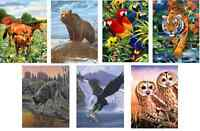 7 NEW WILD ANIMAL DESIGNS A4 ACRYLIC PAINT BY NUMBERS ARTIST BRUSH PAINTING KITS