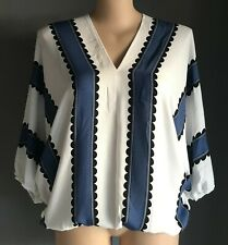 SHEIN White, Blue & Black Print Blouse w Elastic Hem Sleeve Cuffs Size 3XL/22