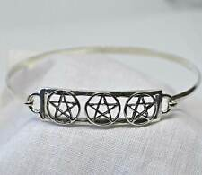 Silver Pentagram Bracelet 925 Sterling Three Pentacle Bangle Wicca Witch Reiki