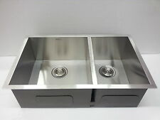 "Small Cabinet Kitchen Sink-29""x18"" Zero Radius Double-Bowl  60/40 SPLITE-2918B"