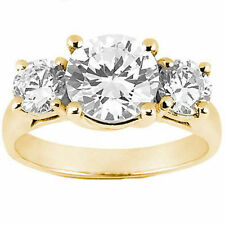 1.91 carat, 3 Stone round Brilliant Diamond Engagement 14K Yellow Gold Ring
