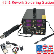 4 In1 800W 909D+ Rework Soldering Iron Station Hot Air Gun +SMD Helper Tool 110V