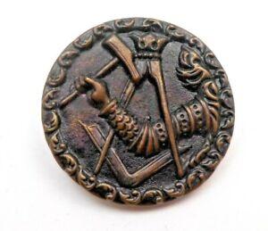 "Large antique metal button, stamped & tinted brass, Masonic symbol, 1 1/2"""