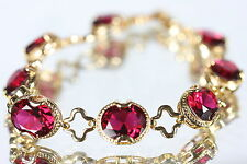 8 Oval Created 8 x 10mm Ruby Bracelet 19.5cm / 7.67Inches