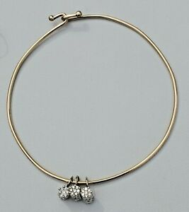 CUSTOM 14K YELLOW GOLD BANGLE w/ 14K WHITE GOLD DIAMOND CHARMS-ONE OF A KIND!