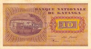 Katanga  10  Francs  ND. 1960  P 5s  Series ZZ Specimen Circulated Banknote