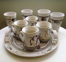 Australian Mountain Ash Studio Pottery Large Tray, Coffee Mugs x 4 & Beakers x 4