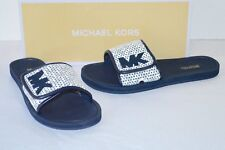 Michael Kors MK Women's Premium DESIGNER Slide Slip on Sandals Shoes White/navy 8
