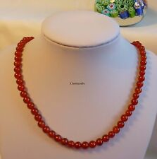 Genuine natural  8mm round bead red agate necklace