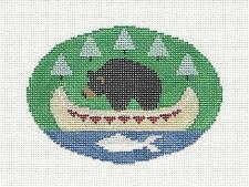 SP.ORDER ~ Black Bear in Canoe Oval handpaint Needlepoint Canvas Kathy Schenkel