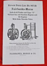 Fairbanks-Morse Type T Stationary Gas & Oil Hit n Miss Engine Repair Price List