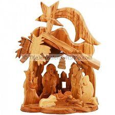 Mini Olive Wood Nativity Scene with Bethlehem Church & Star - Holy Land Product