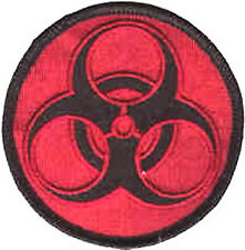 Iron On/ Sew On Embroidered Patch Badge Bio Hazard Warning Circle