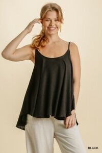 Umgee Black Linen Cotton Black Tank Top