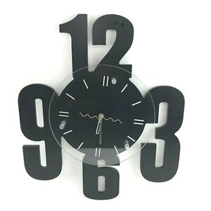 Decorative Hanging Wall Clock Solid Black Modern 90s Industrial Large Analog