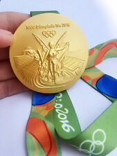 2016 RIO DE Olympic Souvenir Gold Medal with Commemorative Ribbon Xmas Gift New