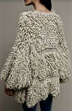 NWT Anthropologie MIH Taupe Thick Shaggy Fringed Open Cardigan Sweater Coat M/L