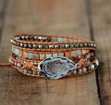 Natural Stone Ocos Agate & Jasper Beaded Gemstone Druzy Geode Wrap Bracelet Cuff