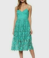 DONNA MORGAN Anthropologie Womens Dress Size 16 Renata Lace Seagreen Fit Flare