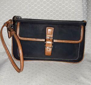 COACH Wristlet in Tan Leather w Black Canvas Body. 7-1/4 x 4-1/2