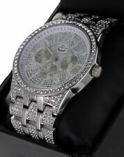 NY LONDON Men Hip Hop Silver Tone Iced Out Lab Diamond Rapper Watch New