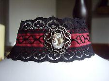 Alchemy Victorian Gothic Revania Bat Burgundy Black Crystal Pewter Choker P414