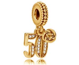 Genuine PANDORA 50 Years of Love Pendant Charm 14K Gold Vermeil 797264CZ
