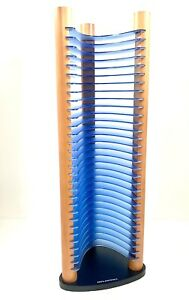 "Atlantic 30 CD Jewel Case Storage Rack Tower Blue Plastic and Wood 20"" Tall"