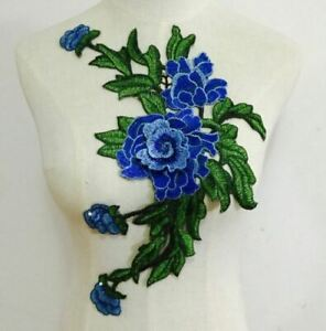 Large Blue Green Embroidered 3D Applique Flower Patch Sew On DIY Rose Leaf Vine