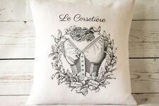 "Paris Corset - 16"" cushion cover French shabby vintage chic - UK handmade"
