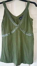 Womens classic  V neck green top by Esprit size M