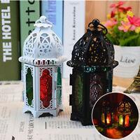 Moroccan Style Metal Glass Lanterns Lamp Light Tea Candle Holders Outdoor Indoor