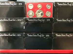 1974-S US Mint Clad Gem Proof Set 6 Beautiful Coins NO BOX NO FLAP NO COA