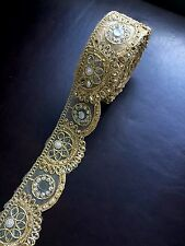 1 meter gold diamante lace trim stones beads mirrors ribbon border craft edge 3""