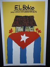 EL BOHIO (Native TAINO Hut) / Cuban Silkscreen Movie Poster by Cuba Artist BACHS