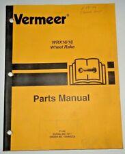 Vermeer Wrx16 Wrx18 Wheel Rake Parts Catalog Manual Book 206 Original 16 18