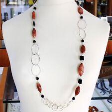 Necklace Silver 925, Jasper Oval, Onyx, Length 90 cm, Circles Large