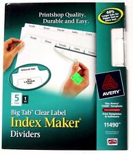 Avery 11490 Big Tab Clear Label Index Maker Dividers 5 Tabs 1 Set NEW