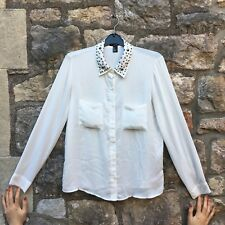 Forever 21 - White Shirt with Studded collar - S - Great condition