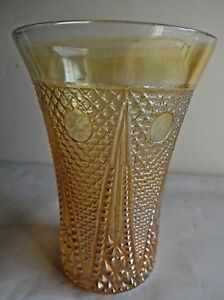 Vintage Carnival Glass Tumblers Beaded Spears By Jain Glass India Rare# 30 F