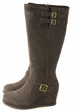Caterpillar CAT Women's Knew Wedge Winter Snow Boot Cafe Brown Suede Size 9 M