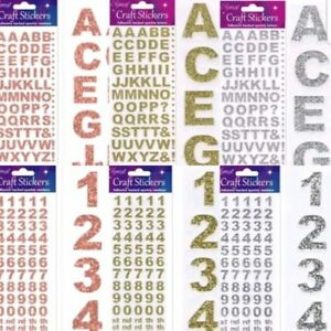 15mm Self Adhesive Bold Glitter Alphabet Letters & Numbers Silver/Rose/Gold