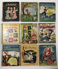 Lot 9 vintage Little Golden Books 1946 Disney A edition Very Worn Condition
